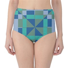 Green blue shapes High-Waist Bikini Bottoms