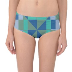 Green blue shapes Mid-Waist Bikini Bottoms