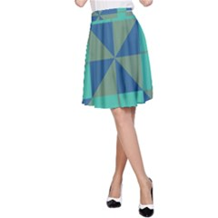 Green Blue Shapes A Line Skirt