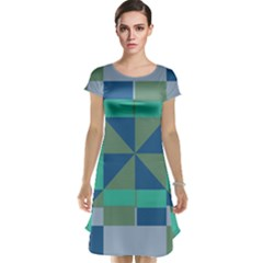 Green blue shapes Cap Sleeve Nightdress