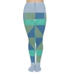 Green blue shapes Tights