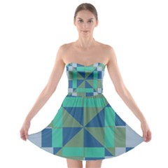 Green blue shapes 	Strapless Bra Top Dress