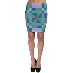 Green blue shapes Bodycon Skirt