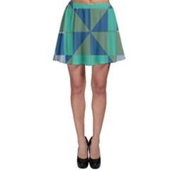 Green Blue Shapes Skater Skirt