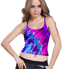Stormy Pink Purple Teal Artwork Spaghetti Strap Bra Tops