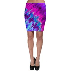 Stormy Pink Purple Teal Artwork Bodycon Skirts