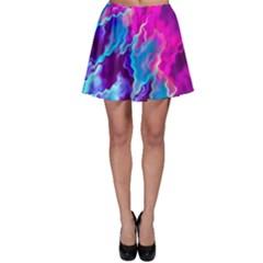 Stormy Pink Purple Teal Artwork Skater Skirts