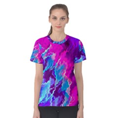 Stormy Pink Purple Teal Artwork Women s Cotton Tees