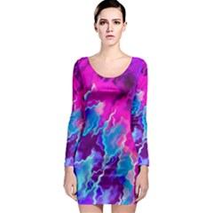 Stormy Pink Purple Teal Artwork Long Sleeve Bodycon Dresses