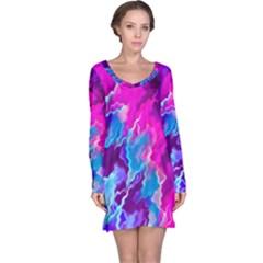 Stormy Pink Purple Teal Artwork Long Sleeve Nightdresses