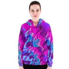 Stormy Pink Purple Teal Artwork Women s Zipper Hoodies