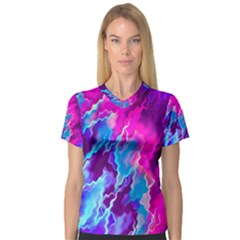 Stormy Pink Purple Teal Artwork Women s V-Neck Sport Mesh Tee