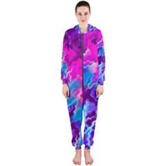 Stormy Pink Purple Teal Artwork Hooded Jumpsuit (ladies)