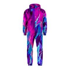 Stormy Pink Purple Teal Artwork Hooded Jumpsuit (Kids)
