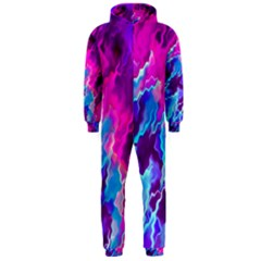 Stormy Pink Purple Teal Artwork Hooded Jumpsuit (men)