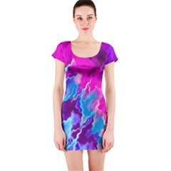 Stormy Pink Purple Teal Artwork Short Sleeve Bodycon Dresses