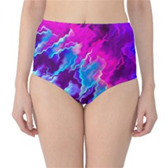 Stormy Pink Purple Teal Artwork High-Waist Bikini Bottoms