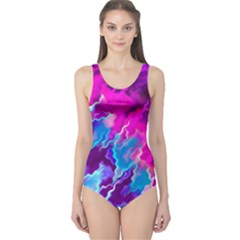Stormy Pink Purple Teal Artwork Women s One Piece Swimsuits
