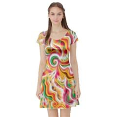 Sunshine Swirls Short Sleeve Skater Dress