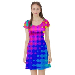 Totally Trippy Hippy Rainbow Short Sleeve Skater Dresses