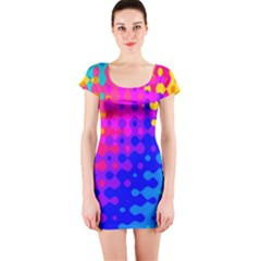 Totally Trippy Hippy Rainbow Short Sleeve Bodycon Dresses