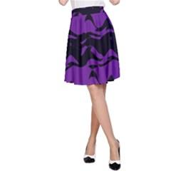 Mauve black waves A-line Skirt