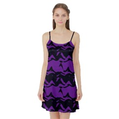 Mauve black waves Satin Night Slip