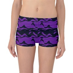 Mauve black waves Boyleg Bikini Bottoms