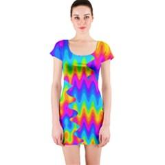 Amazing Acid Rainbow Short Sleeve Bodycon Dresses