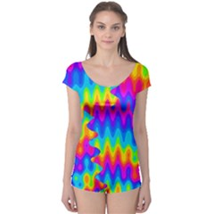 Amazing Acid Rainbow Short Sleeve Leotard