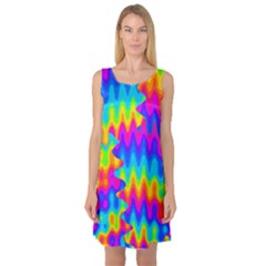 Amazing Acid Rainbow Sleeveless Satin Nightdresses