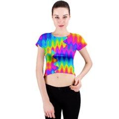 Amazing Acid Rainbow Crew Neck Crop Top