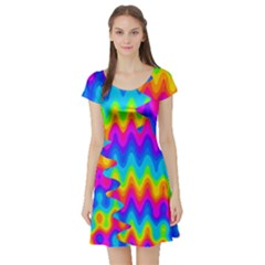 Amazing Acid Rainbow Short Sleeve Skater Dresses