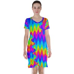 Amazing Acid Rainbow Short Sleeve Nightdresses