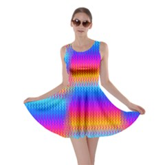 Psychedelic Rainbow Heat Waves Skater Dresses
