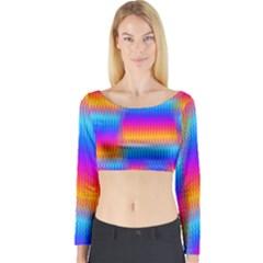 Psychedelic Rainbow Heat Waves Long Sleeve Crop Top