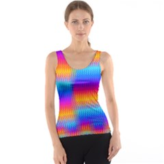 Psychedelic Rainbow Heat Waves Tank Tops