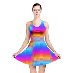 Psychedelic Rainbow Heat Waves Reversible Skater Dresses