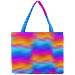 Psychedelic Rainbow Heat Waves Tiny Tote Bags