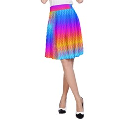 Psychedelic Rainbow Heat Waves A-Line Skirts