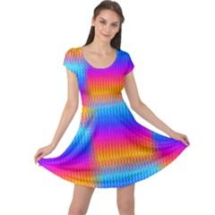 Psychedelic Rainbow Heat Waves Cap Sleeve Dresses