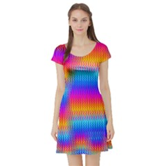 Psychedelic Rainbow Heat Waves Short Sleeve Skater Dresses