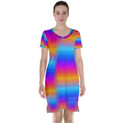 Psychedelic Rainbow Heat Waves Short Sleeve Nightdresses
