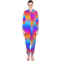 Psychedelic Rainbow Heat Waves Hooded Jumpsuit (Ladies)