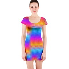 Psychedelic Rainbow Heat Waves Short Sleeve Bodycon Dresses