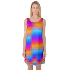 Psychedelic Rainbow Heat Waves Sleeveless Satin Nightdresses