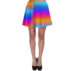 Psychedelic Rainbow Heat Waves Skater Skirts