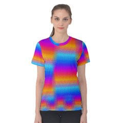 Psychedelic Rainbow Heat Waves Women s Cotton Tees