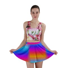Psychedelic Rainbow Heat Waves Mini Skirts