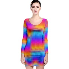 Psychedelic Rainbow Heat Waves Long Sleeve Bodycon Dresses